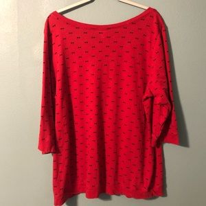 torrid Tops - Torrid Red Black Bow Tie Print Tee V Neck Size 3X